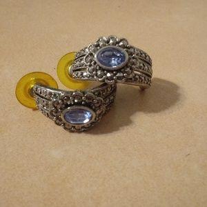 Vintage Avon Half Hoop Silver Tone Earrings